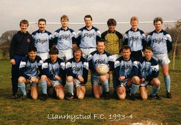 Llanrhystud Football Club team photo 1993-4 football season, Cambrian Football League.