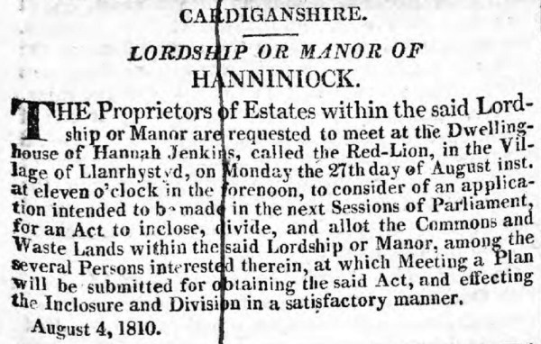Printed by: The Carmarthen Journal and South Wales Weekly Advertiser - 25th August 1810.