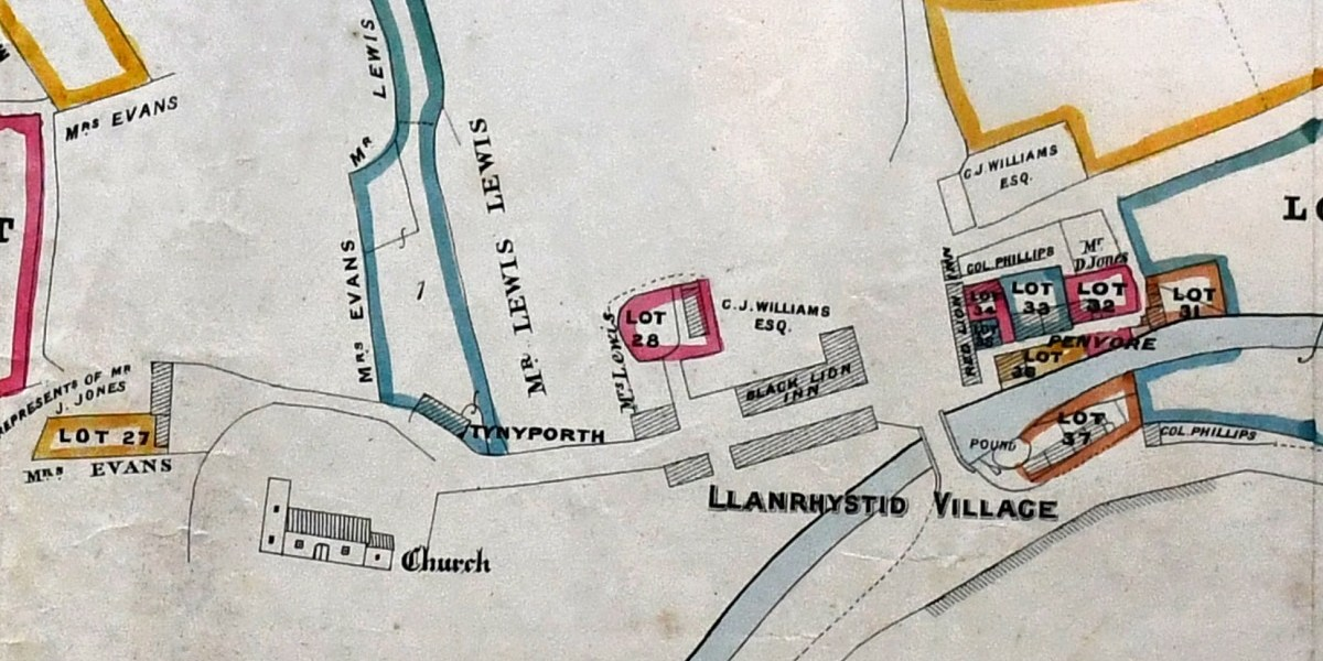 Map of Llanrhystud Village in 1884
