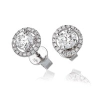 Diamond Solitaire Halo Stud Earrings 1.20ct set in Solid