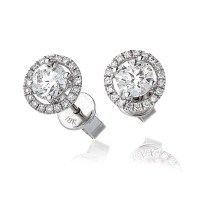 Diamond Solitaire Halo Stud Earrings 1.20ct set in Solid ...