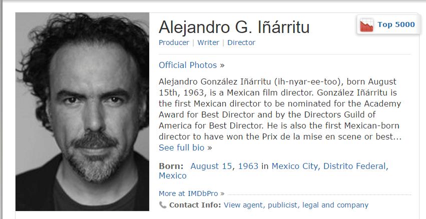 Ficha de Alejando G. Iñárrutu