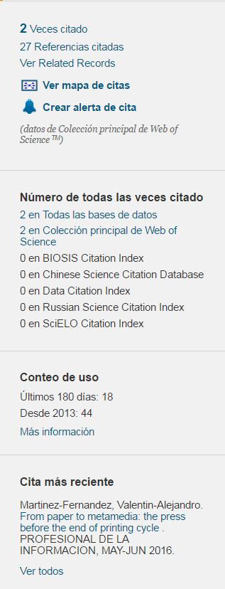 Parte de un registro en Web of Science