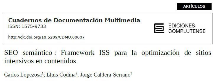 Cabecera del artículo sobre SEO semántico con los datos de la revista.