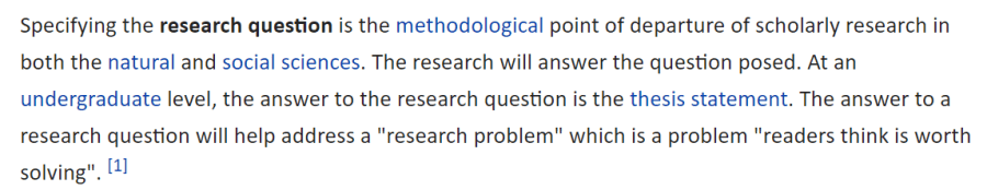 Preguntas de investigación según la Wikipedia