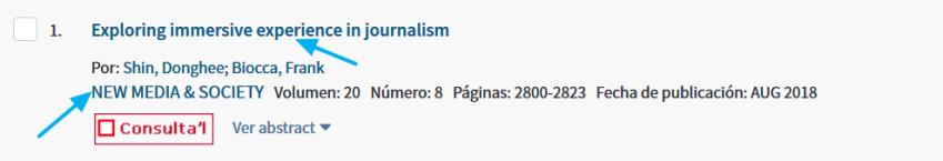 Título de un arrtículo en la página de resultados de WoS