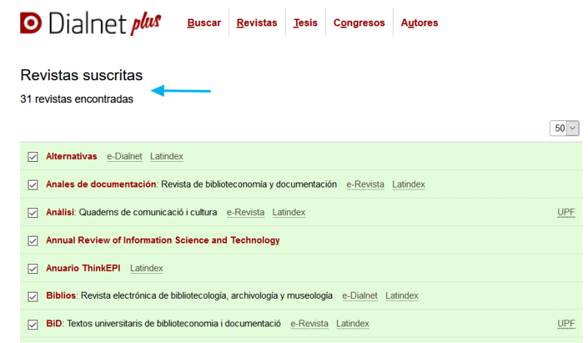 Suscripciones a revistas en DialnetPlus