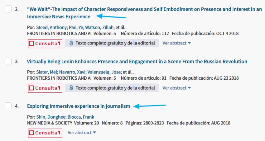 Segundo ejemplo de artículos académicos en la página de resultados de WoS