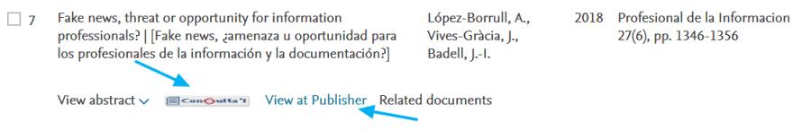 Scopus: acceso al documento
