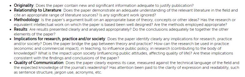 Puntos de chequeo para el peer review según Emerald