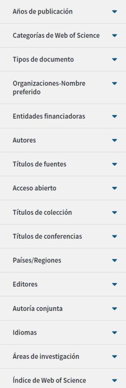 Lista de opciones de filtrado en WoS