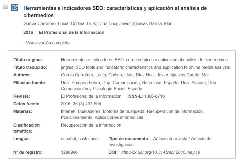 Vista del registro integrado en la página de resultados
