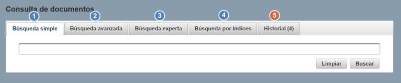 Las cinco opciones de búsqueda en la base de datos del CSIC, con la Historia de búsqueda disponible