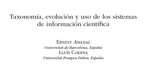 Cabecera capítulo Taxonomía, evolución y uso de los sistemas de información científica