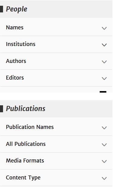 Filtros de la página de resultados de la ACM DL