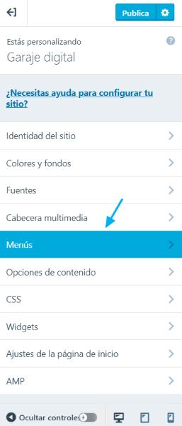 Acceso al Menú en la personalización de WordPress