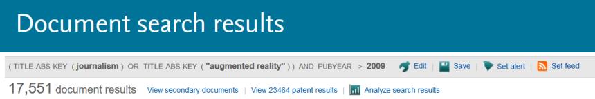 Parte de la página de resultados de la base de datos Scopus