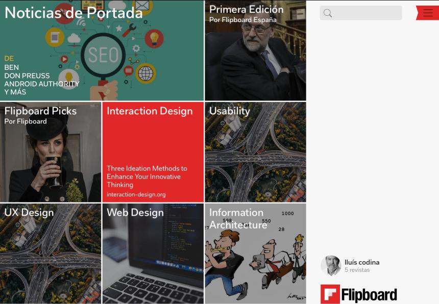Flipboard: pantalla principal
