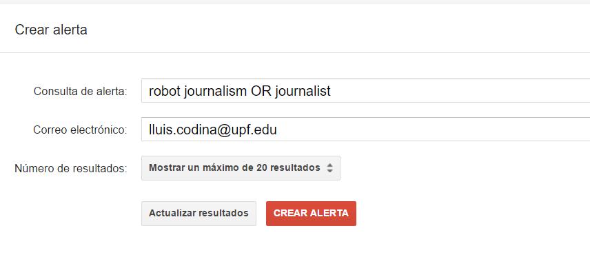 Google Scholar:  servicios de alerta