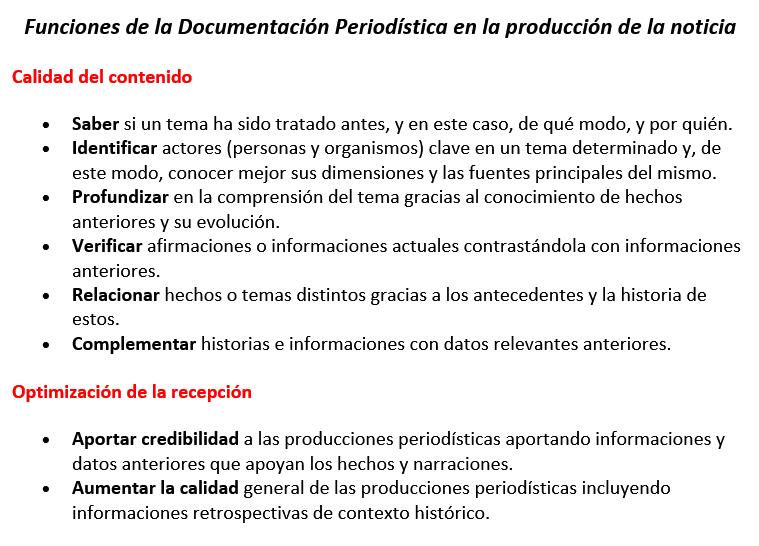 Funciones de la documentación periodística en la producción de la noticia.