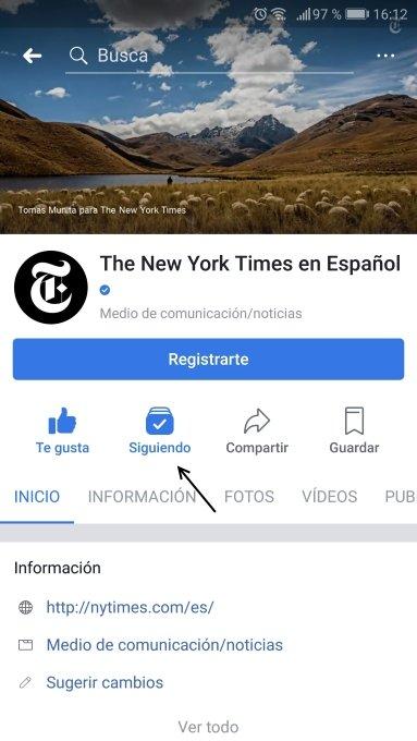 Configurar Siguiendo en Facebook