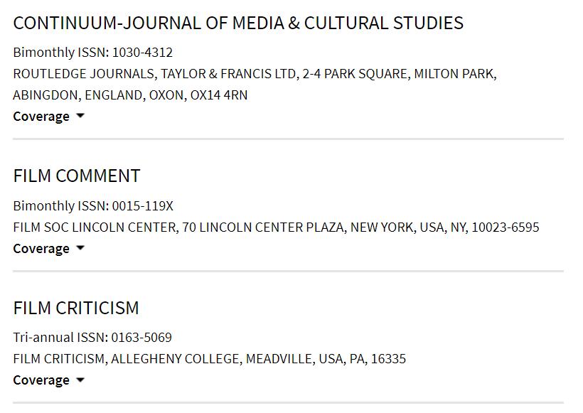 Master Journal List. Revistas de cinematografía