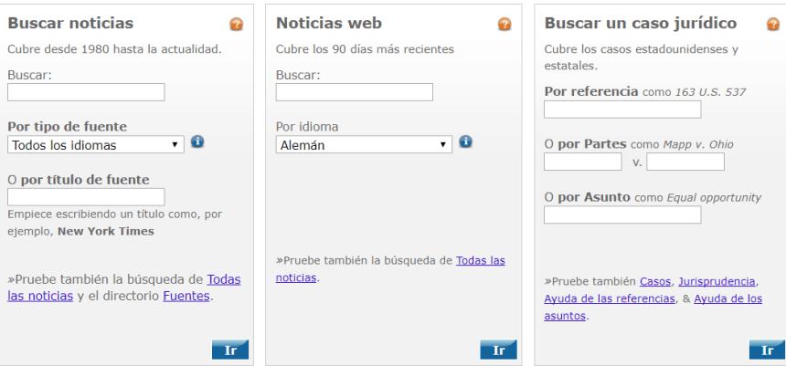 Las principales opciones de búsqueda de la base de datos de prensa LexisNexis