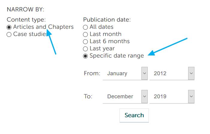 Filtros por fechas y tipos de documentos de Emerald Insight