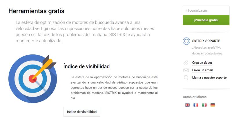 Opción de prueba gratuita de Sistrix