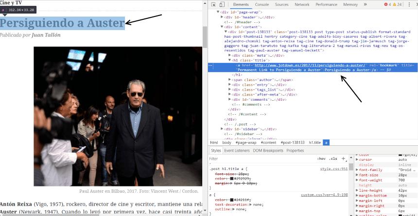 Código fuente de un artículo de revista