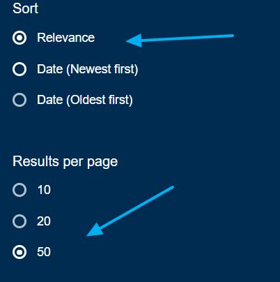 Ordenaciones página de resultados base de datos académica 1 findr