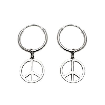 Peace Hoop Earrings Hippie Earrings At
