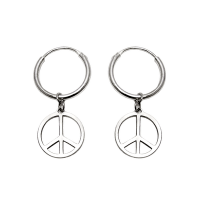 Peace Hoop Earrings Hippie Earrings At