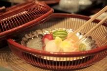 Ball-shaped tuna, salmon, shrimp, sea bream & avacado temari sushi at Nadaman