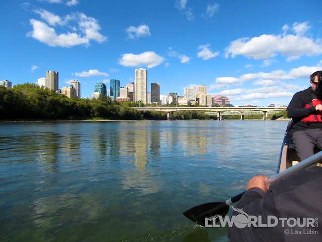 Canoing along the North Saskatchewan River in Edmonton