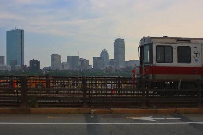 "Boston's subway, the ""T,"" crossing Longfellow Bridge"