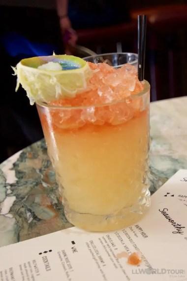 Flaming cocktail at Seaworthy