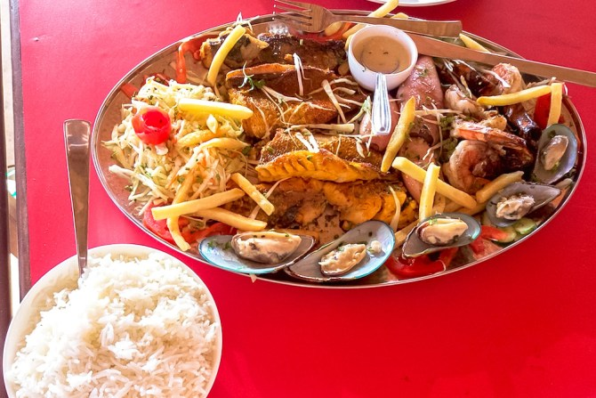 Seafood platter and plain rice in Goa