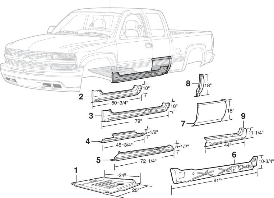 Slip On Rocker Panel Passenger Side for 99-07 Chevy GMC 2