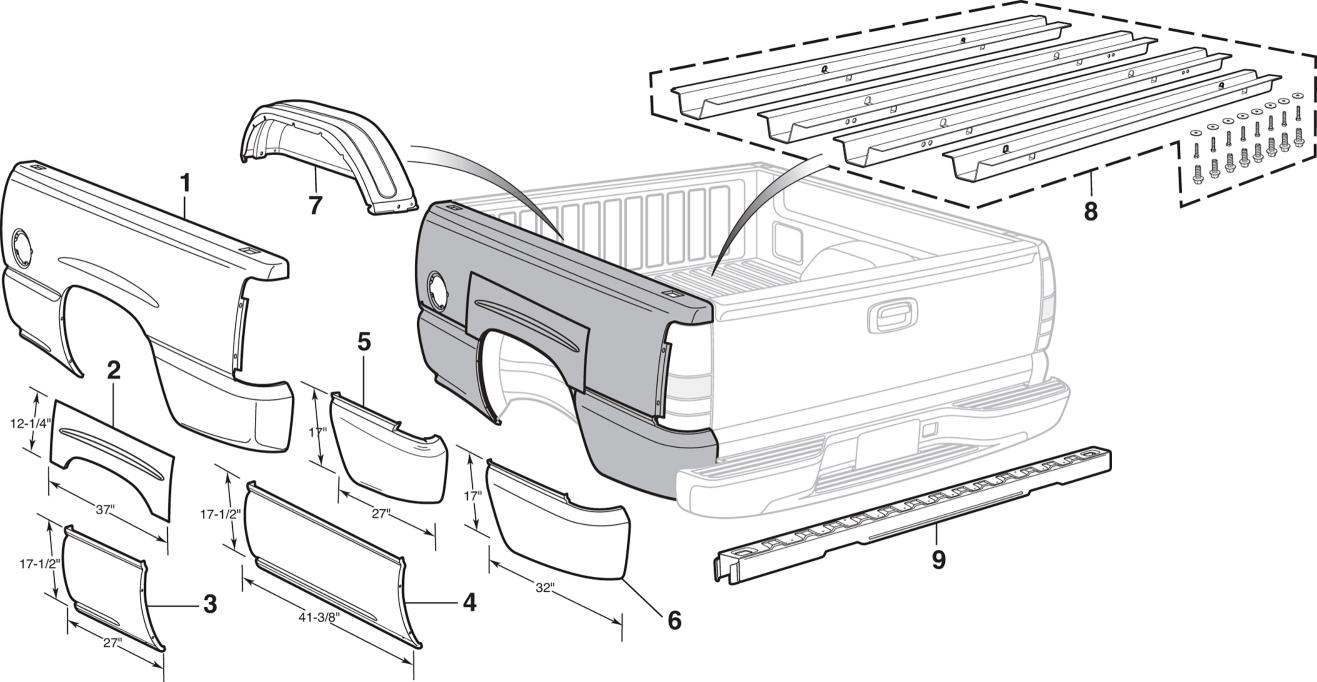 Fleetside Bed Steel Repair Panels