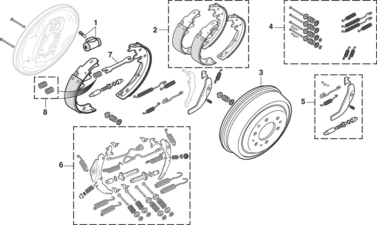 2WD Rear Drum Brake Components