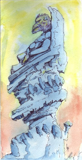 """Kobold Throne  6"""" x11.75"""" water color with ink pen on heavy stock watercolor paperboard"""