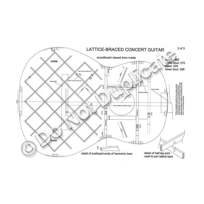 Plan, lattice-brace concert guitar (1995)