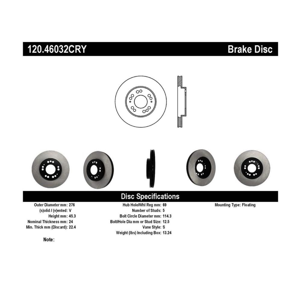 medium resolution of stoptech 120 46032cry mitsubishi 3000gt premium cryostop rotor front 1991 1999 alternate
