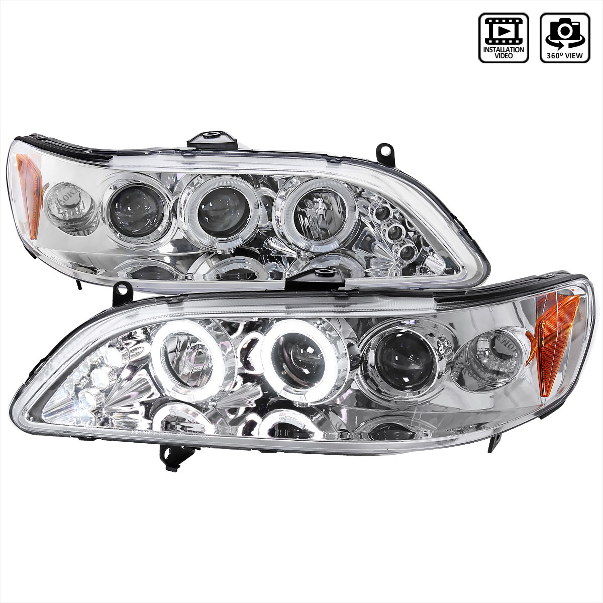 hight resolution of spec d tuning 2lhp acd98 tm honda accord halo led projector chrome 1998 2002