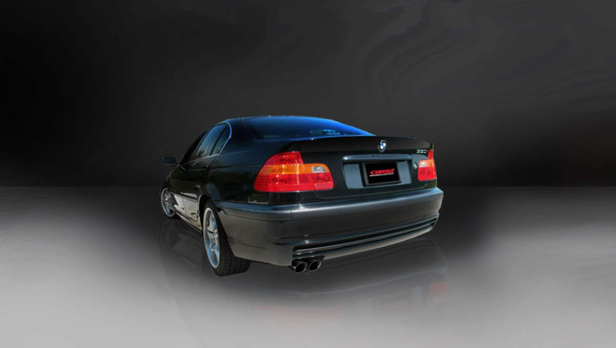 hight resolution of corsa performance 14551blk corsa bmw 328i is cat back exhaust e46 sedan sport 2 25 single rear exit with twin 3 0 black pro series tips 1999 2006