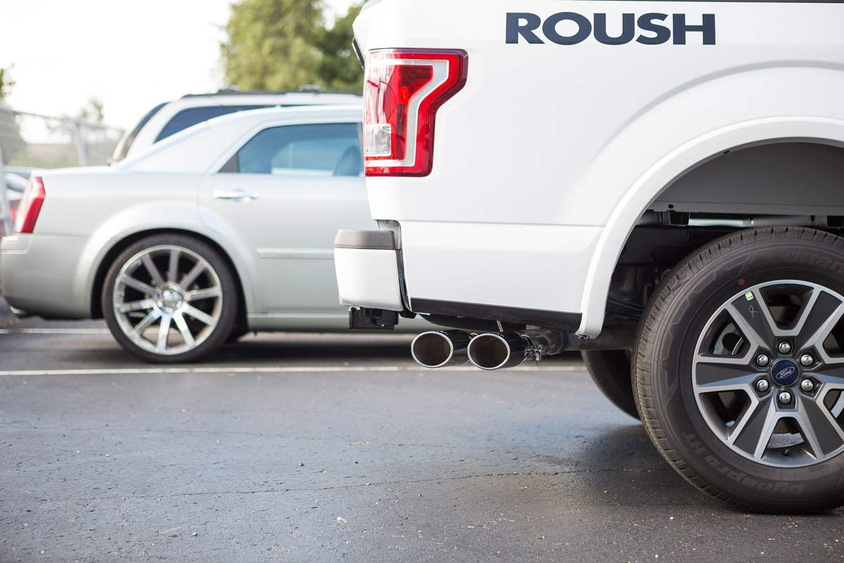 roush 421985 roush f 150 5 0l cat back exhaust system side exit 2015 2020