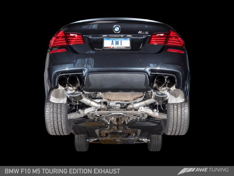 awe tuning 3015 42062 bmw m5 4 4l turbo f10 touring edition axle back exhaust chrome silver tips 2013 2016