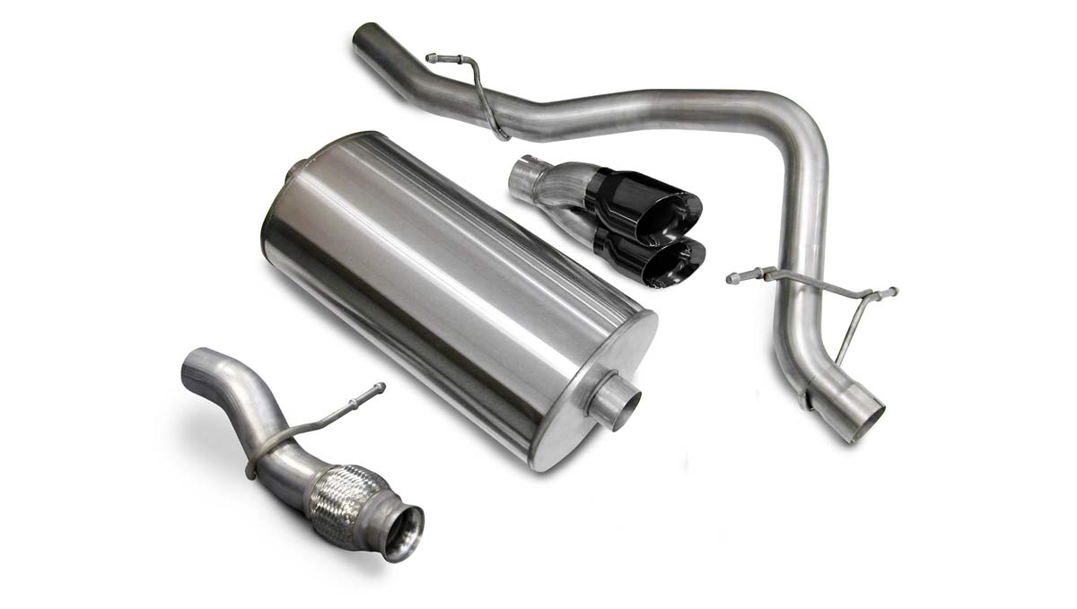 corsa performance 14912blk corsa tahoe cat back exhaust 5 3l v8 sport 3 inch single rear exit with twin 4 inch black pro series tips 2009 2014