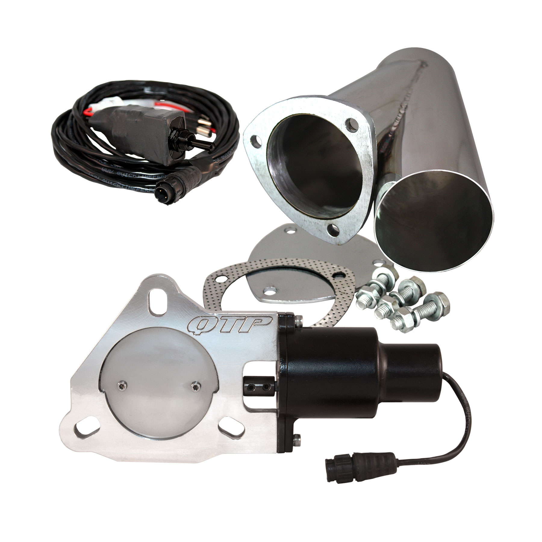 qtp qtec y pipe electric exhaust cutout universal kit 3 in